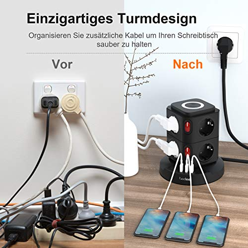 Mehrfachsteckdose mit 7.5W/10W Kabelloser Ladegerät, bedee USB Steckdosenleiste mit 8 Fach Flachstecker, Schwarz Steckdosen mit Überspannungsschutz und Schalter für Zuhause Büro Küche (2500W/10A)