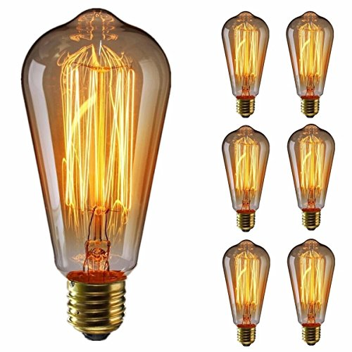 KINGSO Quality Edison Bulbs 60W Squirrel Cage Filament Incandescent Antique Light Bulb for Home Light Fixtures E27 E26 Base ST64 110V - 6 Deck package