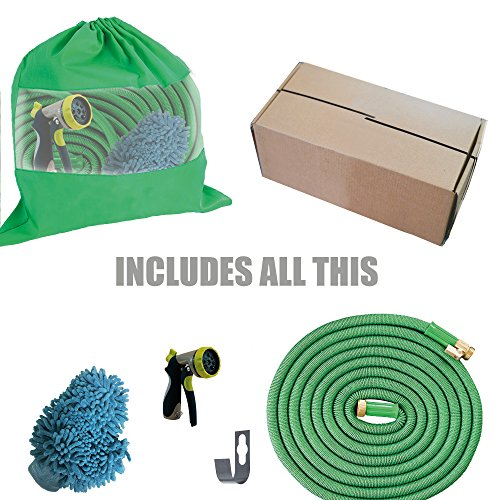 Expandable Hose, Expanding Water Hose Heavy Duty Latex Solid ON/OFF Brass Valve Connector Includes FREE 8 Pattern Nozzle Sprayer - Microfiber Car Wash Mitt - Storage Bag Washers (25 FT, (End Hose Guide)