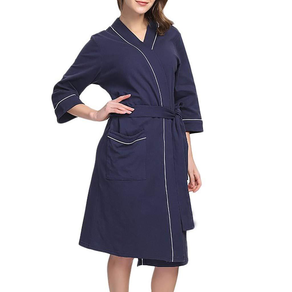 iCerber Bata De Pijamas De Gran Tamaño para Mujer, Abrigo De Cuello En V Color SóLido Suelto Ocasional Cálido Y Suave Pijama Camisa Camisa De Aire ...