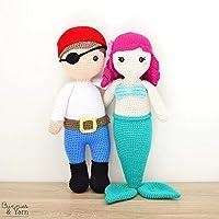 Anna la Sirena Amigable y Ben el Pirata Amigable - peluches tejidos a mano
