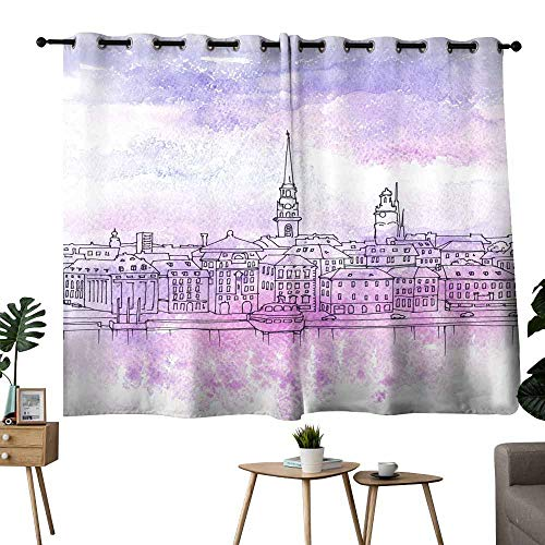 Mannwarehouse Windshield Curtain Illustration of Old Town Gamla Stan Stockholm 70%-80% Light Shading, 2 Panels,72
