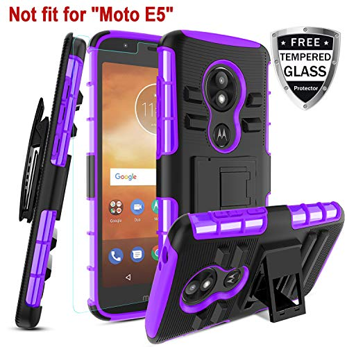 Motorola Moto E5 Play Case, Moto E5 Cruise W [Tempered Glass Screen Protector] [Built-in Kickstand] Rotatable Combo Holster Belt Clip Rugged PC Back &TPU Soft Inner Armor Protective case,Purple