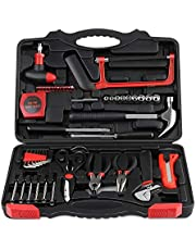INTEY 57-Piece Tool Box Basic Household Tool Kit with Pliers Screwdrivers and Wrench for DIY Projects and Daily Repair Perfect as Housewarming Gift