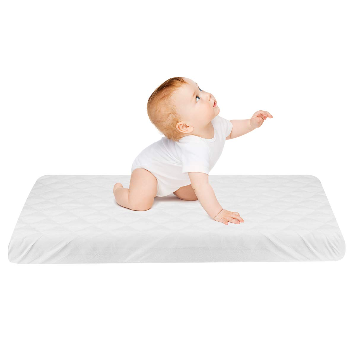 """Zooawa Baby Mattress Pad Cover, Ultra Soft Breathable Waterproof Baby Crib Mattress Reusable Protector Cover for Newborn Infant, 51""""L x 28""""W, White"""