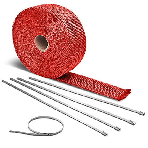 7.5m Red Exhaust Heat Wrap+12 inches Long 5mm Width Silver Zip Tie