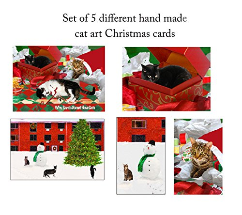 5 Assorted, Handmade Cat Christmas Card, 5 x 7 Inches with Matching Envelopes, Original Artwork and Gifts for Cat Lovers by Deborah Julian Original Christmas Cards