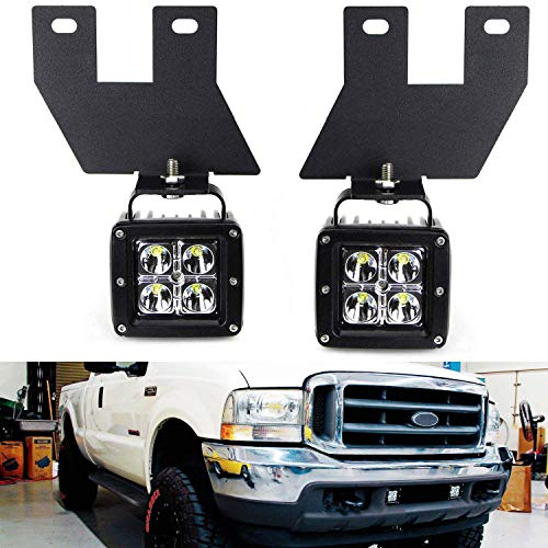 iJDMTOY LED Pod Light Fog Lamp Kit For 1999-04 Ford F250 F350 F450 Super Duty, Includes (2) 20W CREE LED Cubes, Lower Bumper Fog Location Mounting Brackets & On/Off Switch Wiring Kit