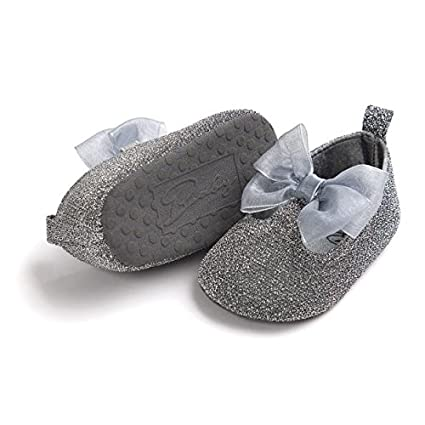 Lurryly Baby Girls Bowknot Leater Shoes Anti-slip Soft Sole Toddler Sneaker 0-18 M