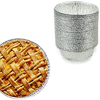 5 Inch Round Pie Tart Tin Foil Pans - Freezer & Oven Safe Disposable Aluminum - For Baking, Cooking, Storage & Reheating - Pack of 50