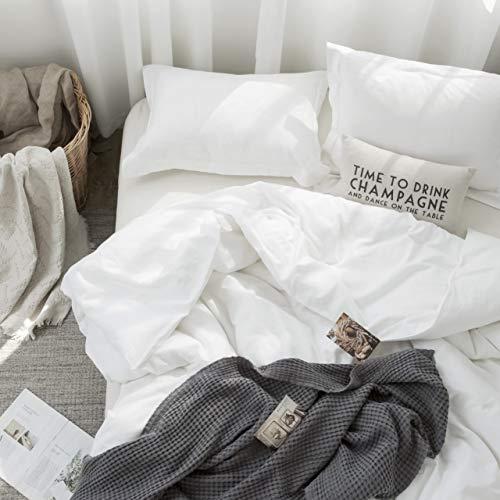 Simple&Opulence French Linen Duvet Cover Set 3PCS Solid Color Luxury Bedding Set(Queen, White)