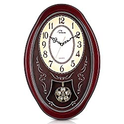 WallarGe Wall Clock with Pendulum,Westminster Chime Wall Clock with Cherry Tone Wood,Chiming Every Hour,Battery Operated Wall Clocks,Great Gifts,Wall Clocks for Home,Office and Hotel.