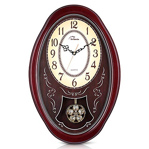 WallarGe Westminster Wall Clock with Swing Pendulum,Chiming Every Hour,Cherry Tone Wood, Vintage Decorative Clocks for Home, Office,School or Library.