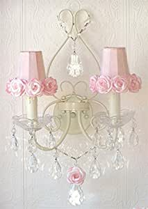 Double Light Wall Sconce with Rose Shades in Pink