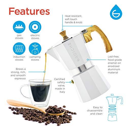 GROSCHE Milano Moka Stovetop Espresso Coffee Maker (6 Cup/9.3 oz, White) by GROSCHE (Image #2)