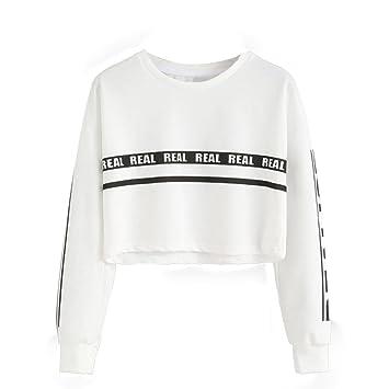 2018 Fashion - Blusa de manga larga para mujer, con estampado de letras blancas