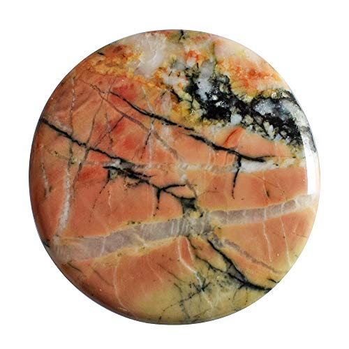 (RAVISHINGGEMS Beautiful Round Shape Natural Red Snakeskin Jasper Cabochon, Smooth, Size 27x27x3 MM Jewellery Making, Crafts Suppliers 20327)