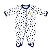 Two Feet Ahead NCAA Georgia Tech Infant Polka Dot Footed Creeper Dress, 6 months, Navy