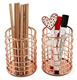 Superbpag Rose Gold Copper Wire Desk Pencil Pen Holder Cup Set 2pc (Small Image)
