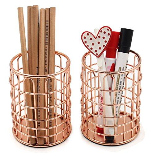 Superbpag Rose Gold Copper Wire Desk Pencil Pen Holder Cup Set 2pc (Large Image)