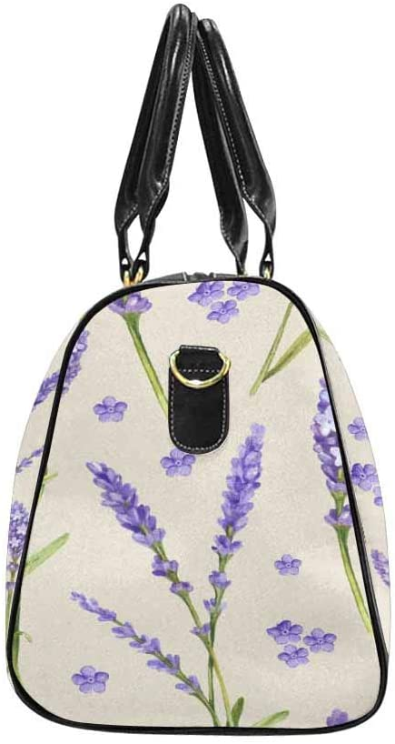 InterestPrint Unisex Duffel Bag Carry-on Bag Overnight Bag Weekender Bag Lavender Flower