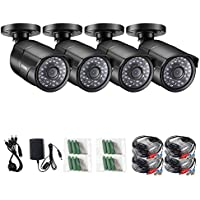 ZOSI 4 Pack 720p AHD 1.0MP Outdoor/Indoor Weatherproof Security Surveillance Bullet Cameras Kit,Night Vision Up to 100FT(30M)
