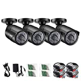 ZOSI 4 Pack 2.0MP HD 1080P 1920TVL Bullet Outdoor/Indoor Security Camera (Hybrid 4-in-1 HD-Cvi/Tvi/Ahd/960H Analog Cvbs), 36Pcs LEDs, 100ft IR Night Vision, Weatherproof Surveillance Camera