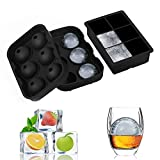 Image of Adoric Easy Release Silicone Ice Cube Trays - 2 Set, Sphere Round Ice Ball Maker & Large Square Ice Cube Molds for Whisky, Cocktails, Bourbon, Chocolate Making