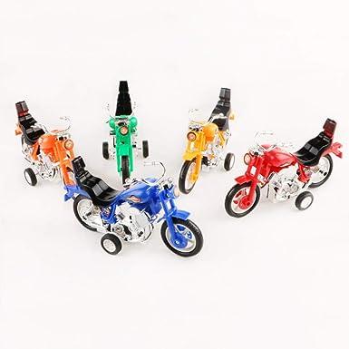 Toyvian - Mini juguete de moto, modelo de motos de tierra con fricción inercial, juguete para niños, vehículos de fiesta, 4 unidades (color mezclado): Amazon.es: Iluminación