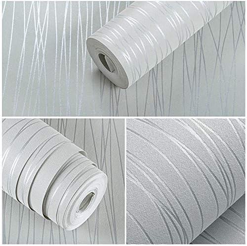 ウォールペーパー、連絡先紙、不織布壁紙、皮とスティック壁紙、リビングルームのベッドルームのための自己接着壁Paperrカバード - 20.8''x196「」,銀