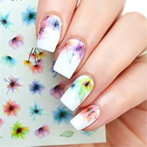 NICOLE DIARY Nail Art Water Decals Colorful Chinese Ink Painting Nail Manicure Transfer Stickers DS-310
