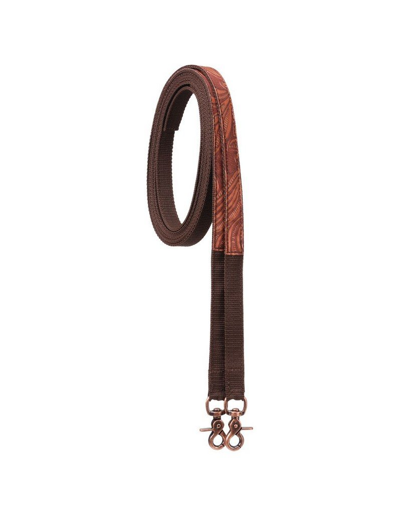 Tough-1 Fun Animal Print Split Reins - Leather Tooled Brown