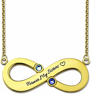 -Child XXI0c2sd2s Silver Infinity 4 Names Necklace with Birthstones Personalized Infinity Necklace Mothers Necklace Birthstone Jewelry 35cm 18K Rose Gold 14