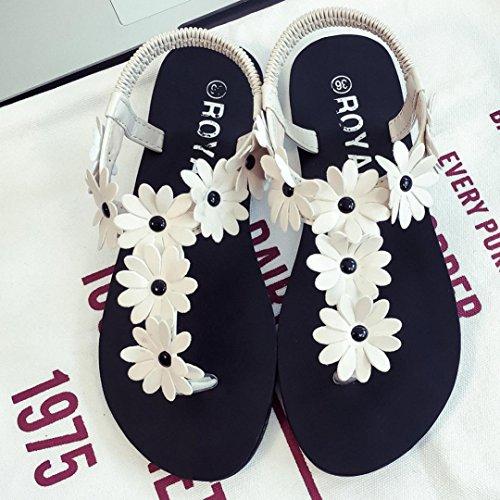 FEITONG Mujer Zapatos planos Rebordeado Bohemia Sandalias de ocio Peep toe Dar la vuelta Flops Zapatos Blanco