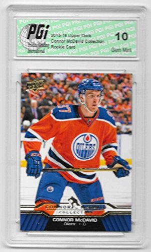 (Connor McDavid 2015-16 Upper Deck Collection #CM-20 Rookie Card PGI 10 Oilers )
