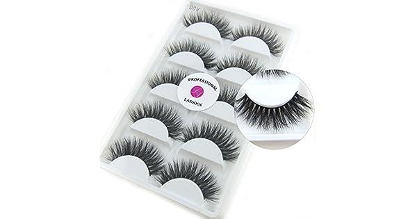 ef24bb3358d Luxurious 100% Siberian Mink Fur 3D False Eyelash LASGOOS Degisn Natural  Messy Thick Long Volume Fake Eyelashes Makeup 5 Pairs/Box (A06)