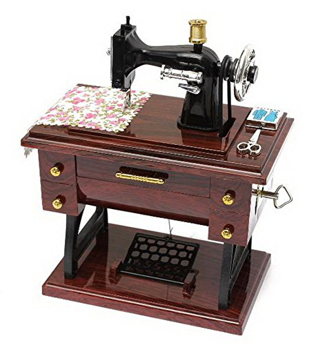 MAYMII Vintage Mini Sewing Machine Style Plastic Music Box Table Desk Decoration Toy Gift for Kid Children - Antique Treadle Sewing Machines