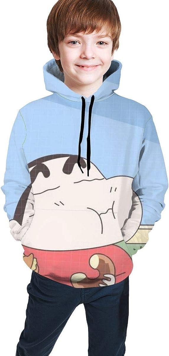 JacobCole Boys Crayon-shin-chan-Eating Cute Kangaroo Pocket Sweatshirts with Hat for Autumn