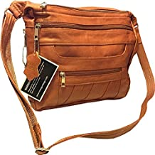 Leather Concealed Carry Crossbody Purse - YKK Locking CCW Ambidextrous Gun Bag Roma 7082
