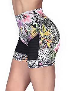 Protokolo Animal Print High Waisted Fitness Shorts for Women M/L