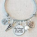 She Believed She Could So She Did VETERINARIAN VET TECH Gift, Veterinary Technician Bracelet Grad Gift, Vet Tech Graduation She Believed Charm Bracelet
