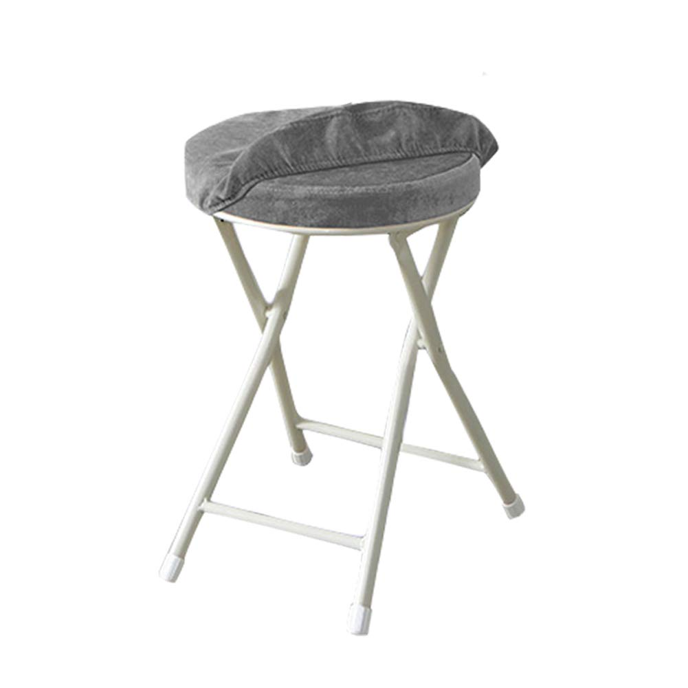 Usmoscat Folding Stool - 18.5 inch Light Weight Metal and Resilience Sponge Pad Round Stool 300lb Capacity for Dorm, Rec Room Folding Stools, with Removable Cloth Cover (Grey, Without Backrest) by Usmoscat