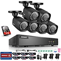 ANNKE 8-Channel 720p Video Security System 1080N DVR with 2TB Hard Drive and (6) 1.0MP Indoor/Outdoor Bullet Cameras with IP66 Weatherproof Housing and IR Night Vision