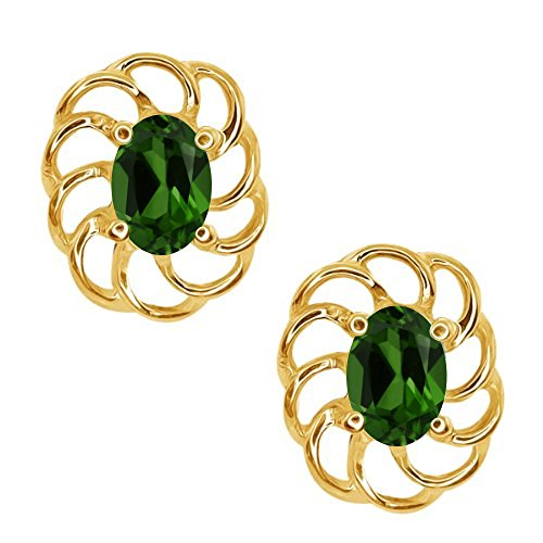 0.90 Ct Oval 6x4mm Green Chrome Diopside 10K Yellow Gold Stud Earrings