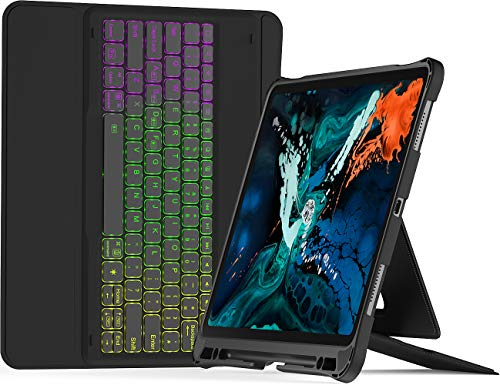 Inateck iPad Pro 12.9 Inch Keyboard Case 2018 3rd Gen Only, with Pencil Holder, Hundreds of DIY Backlit, Detachable, for 2018 3rd Gen Only, KB02006