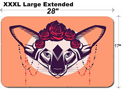 MSD Large Table Mat Non-Slip Natural Rubber Desk Pads Image 30728555 Fashion Portrait of cat in a Wreath of Roses and Beads ()