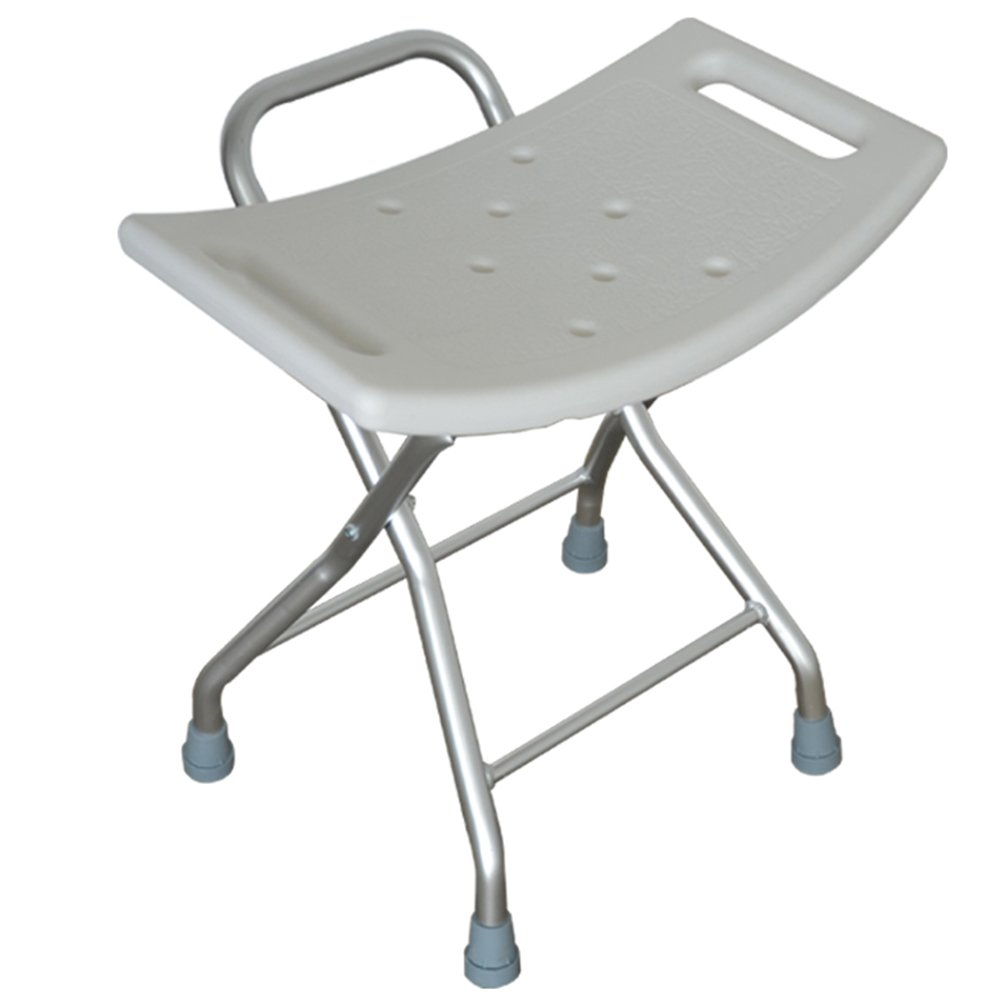 Bath chair Foldable Bathroom Stool/White Shower Stool/Aluminium Alloy Elderly Pregnant Woman Anti-slip Shower Chair/Loading Capacity 100KG/(373448cm)