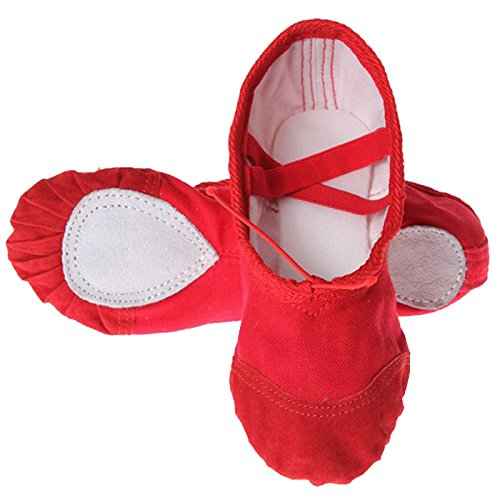 Feoya Chaussure de Danse Demi-pointes en toile-Bi-semelle-danse classique Chaussure de Ballet-Rouge - FR 38