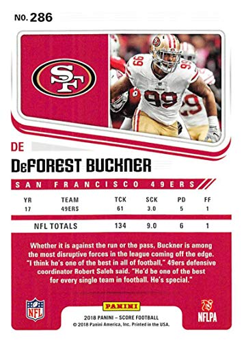 f8eaddfd126 Amazon.com  2018 Score Scorecard  286 DeForest Buckner San Francisco 49ers  Football Card  Collectibles   Fine Art