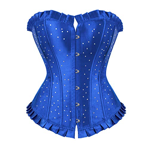 frawirshau Women's Lace Up Boned Overbust Corset Bustier Bodyshaper Top Blue - Corset Up Blue Lace